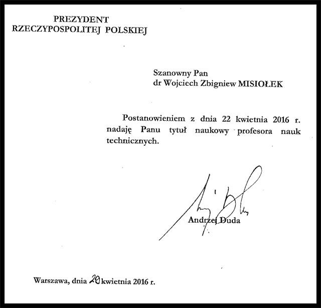 Letter to Misiolek