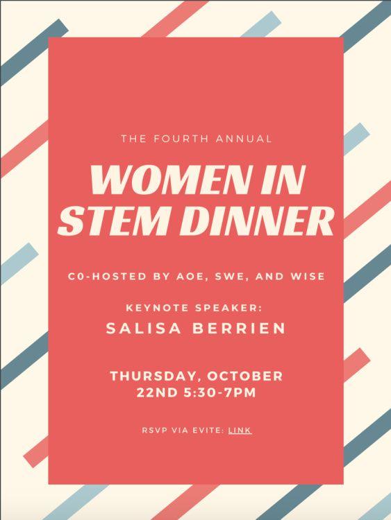 Women in STEM dinner invitation