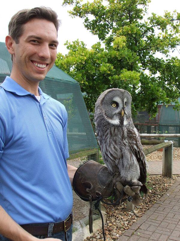 Justin Jaworski with owl