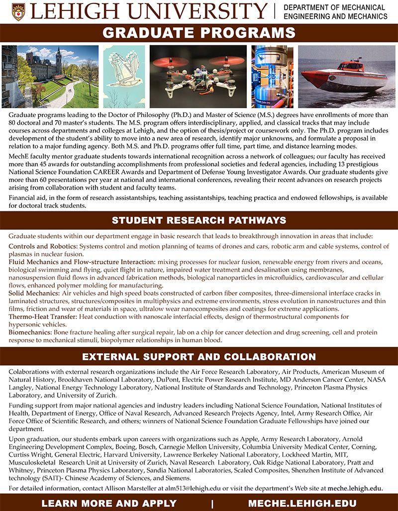 Lehigh Mechanical Engineering and Mechanics Graduate Program