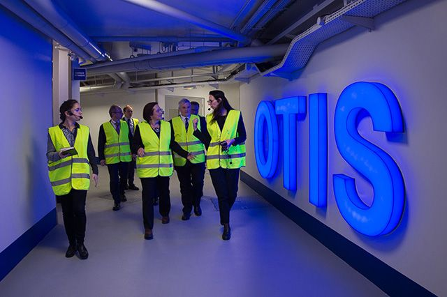 Marks visits the Otis Elevator Company