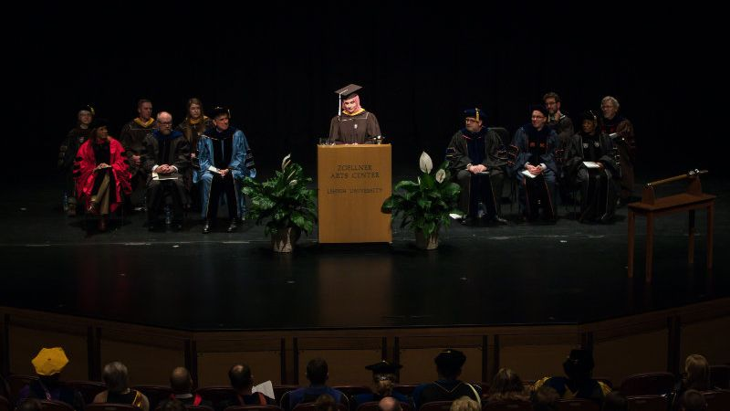 Maryam Athar Khan '19 speaks at the 2019 Honors Convocation