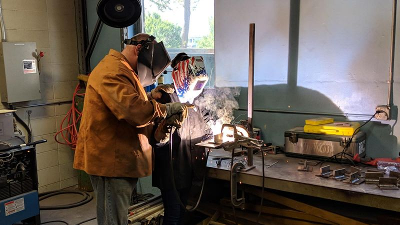 Materials Camp student welding