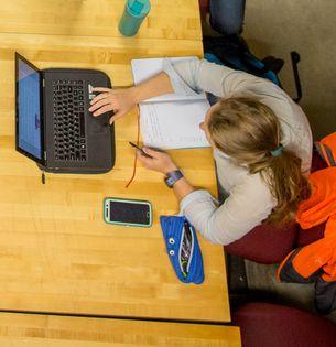 Overhead shot of woman using laptop
