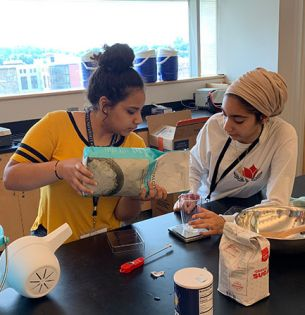 Students doing experiment
