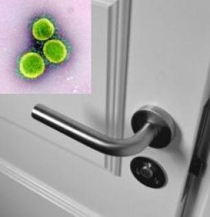 Inset: Novel Coronavirus SARS-CoV-2/NIAID; door handle: Jonathan Petersson/Pexels
