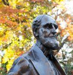 Asa Packer statue in autumn