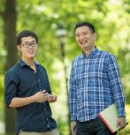 Lehigh CSE graduate student Song Li (left) and assistant professor Yinzhi Cao (Photo by Douglas Benedict / Academic Image / Lehigh University)