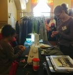 Arianna Pineiro (at sewing machine) with Shira Morosohk at the Pop-Up Prom Shop in Easton, Pa.