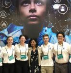 From left: Lena McDonnell, Brooke Glassman, Anu Jain (the sponsor of the Women's Safety XPRIZE competition), Cameron Cipriano, and Michael Wu.