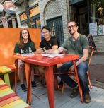 A new Parklet goes up in front of Roasted on Fourth Street in South Bethlehem.