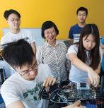 Computer science and engineering professor Chuah with students