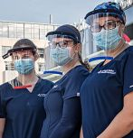 LVHN personnel with 3-d printed face shields