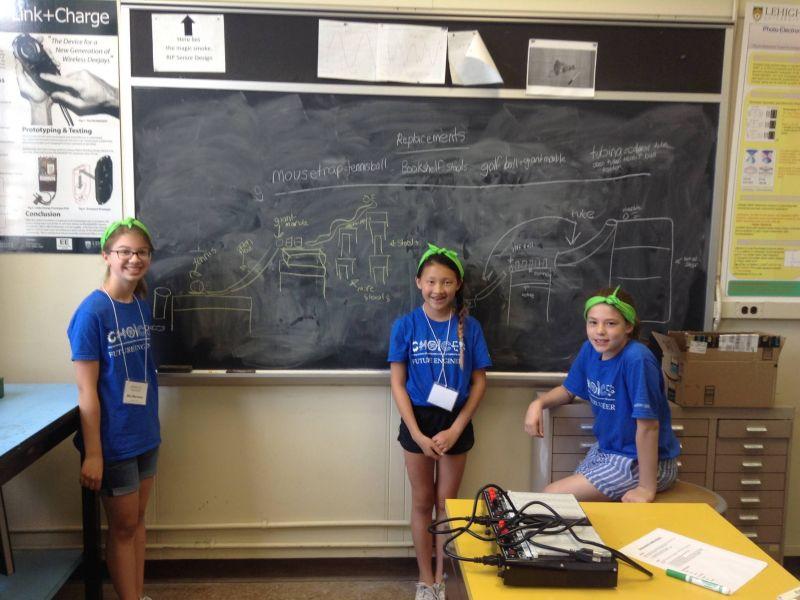 Girls in front of chalkboard